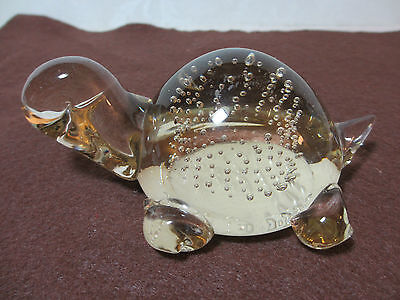 Vintage Art Glass Paperweight Clear Glass Turtle Controlled Bubbles in His Shell
