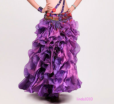 New Performance Belly Dance Costume Waves Skirt Dress with Slit Skirt 10 Colors