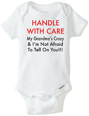 Handle With Care Crazy Grandma  Funny Novelty Baby Onesie Clothes Bodysuit