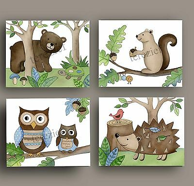WOODLAND FOREST ANIMALS baby nursery kid children wall art prints decor pictures
