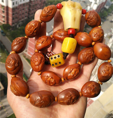 olive nut carved seed worry beads stone tibetan chinese arhat 18 luohan bracelet