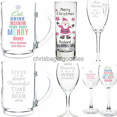 PERSONALISED Novelty CHRISTMAS Drinking WINE GLASS TANKARD SHOT Gifts for Xmas