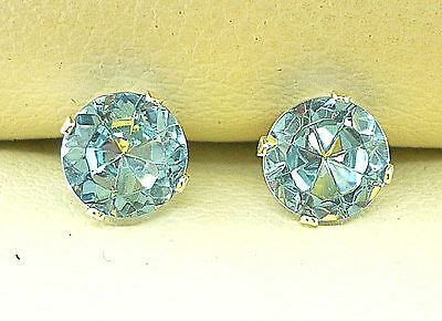SOLID STERLING SILVER AQUAMARINE STUD EARRINGS  ROUND 5mm LAB-CREATED  sk789