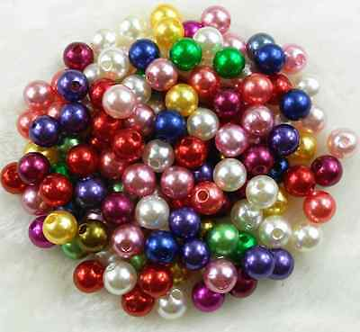 6mm 8mm 10mm Mixed Color Acrylic Round Pearl Spacer Loose Beads Free Ship