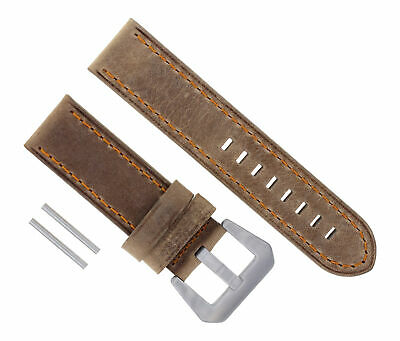 24Mm Leather Strap Watch Band For 44Mm Panerai 88 90 104 177 Sand Orange #17