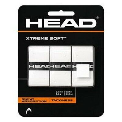 NEW Head Xtreme Soft Tennis Overgrip White 3 Pack Xtremesoft over grip