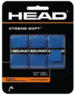NEW Head Xtreme Soft Tennis Overgrip blue 3 Pack Xtremesoft over grip
