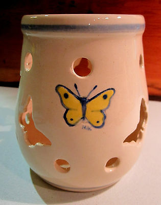 Kovack Pottery Candle Crock With Butterfly Cutouts - Limited Edition