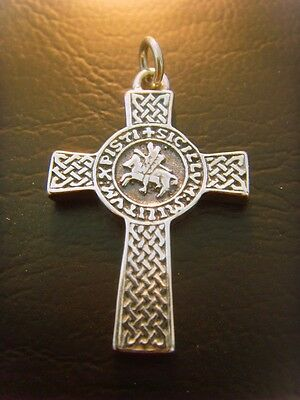 cross masonic Knights Templar Seal pendant solid sterling silver 925