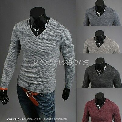 Mens Fashion V-neck Slim Fit Long Sleeve Knit Cardigan Pullover GBW