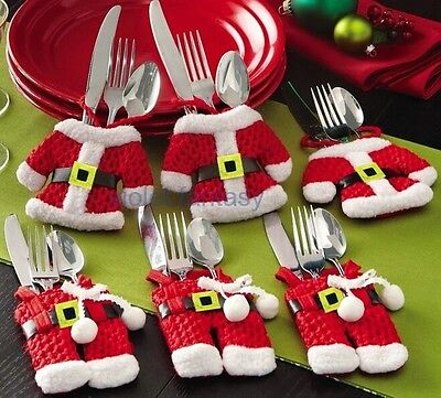 Set of 6 Christmas Santa Claus Suit Kitchen Silverware Decoration Holder Pockets