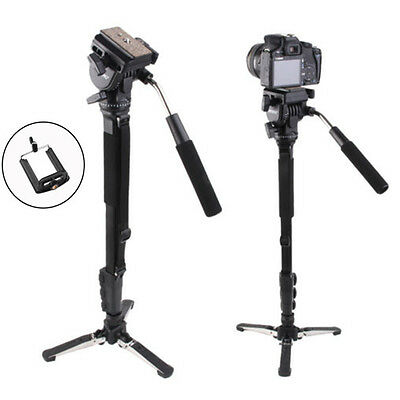 Yunteng 288 Camera Monopod + Fluid Pan Head + Monopod Holder For DSLR