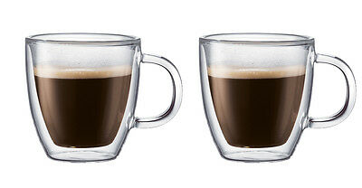 Bodum Bistro Double Wall Glass Mug 10oz  0.3L Set of 2