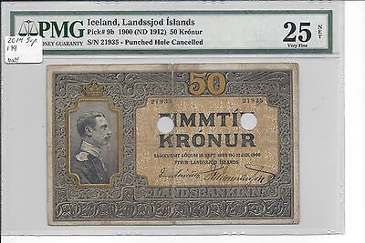Iceland 12-1-1900 (1912)  50 Kronur Pick 9b  PMG 25 net  Scarce in any grade