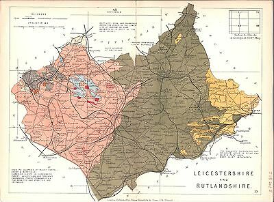 Antique map, Leicestershire and Rutlandshire