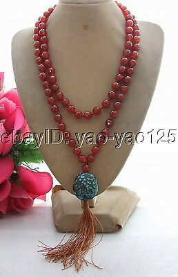 """R062801 36""""Carnelian&Natural Turquoise Necklace"""