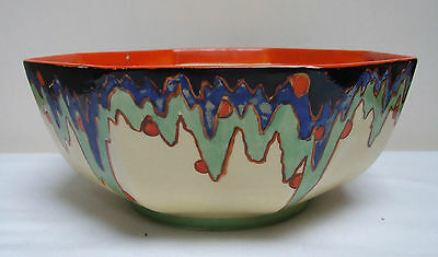 "BURSLEY WARE DECO 1930's GEOMETRIC HAND PAINTED DISH BOWL DORA TENANT 8.5"" a/f"