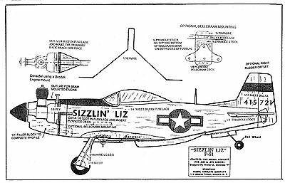 """Model Airplane Plans 1/2 A SCIENTIFIC P-51 MUSTANG 20"""" wing"""