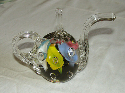 1983 Maude & Bob St. Clair Glass  Teapot Paperweight w/ Colorful Trumpet Flowers