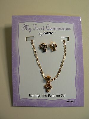 """Ganz MY FIRST COMMUNION Earring & 16"""" Necklace Set Gold with Crystal NEW Fashion"""