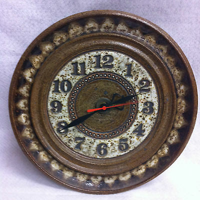 STUNNING Lieberman EUC! Ceramic Wall Clock Pottery Art Battery Highly Decorative