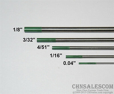 """5 pcs WP 0.04""""  1/16""""  4/51""""  3/32"""" 1/8""""  Pure Tungsten Electrode Green"""