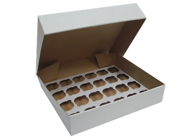 10 STRONG White Corrugated Fairy Cupcake 24 Hole Muffin Box Insert Tray