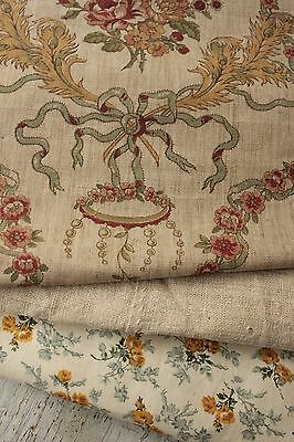 Vintage French fabrics antique material PROJECT BUNDLE natural neutral