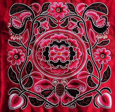 """Antique Deep Red Square miao hmong tribal machinemade embroidery Flowers 8"""""""