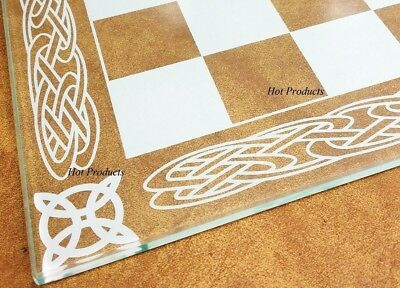"""15"""" X 1/4"""" THICK ETCHED BORDER GLASS CHESS BOARD"""