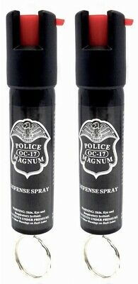 2 PACK Police Magnum pepper spray 3/4oz ounce Keyring Safety Defense Security
