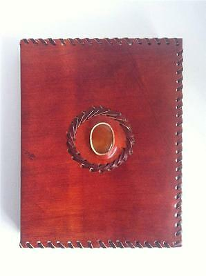 Journal Book Of Shadows Carnelian Gemstone Leather Cover Witchcraft Spells Wicca