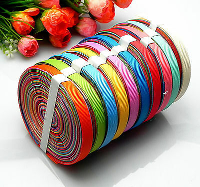 "10/20yards 3/8"" mixed 10 Style sewing satin grosgrain ribbon lot wholesale A-33"