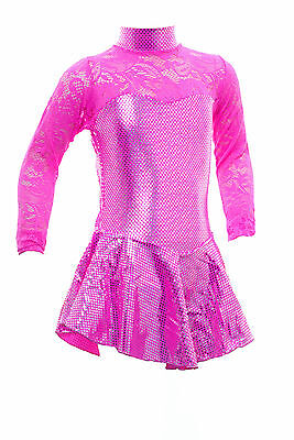 Skating Dress-FLUORESCENT PINK METALIC / FLO PINK LACE - ALL SIZES (S105)