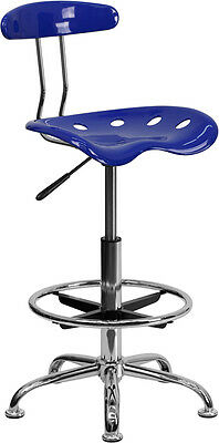 Flash Furniture Vibrant Nautical Blue and Chrome Drafting Stool with Tractor...
