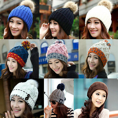 Women Winter Warm Baggy Braided Crochet Knitting Hat Beret Ski Beanie Ball Cap