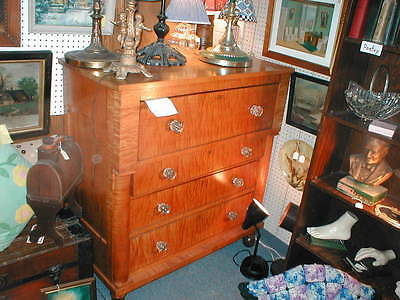 Spectacular Late 1800's Federal Style Solid Tiger Maple Chest of Drawers