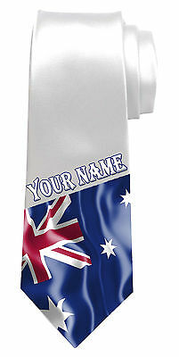 NAMED GIFT FOR ANY MAN* AUSTRALIAN FLAG PERSONALISED NECK TIE *ANY NAME//TEXT