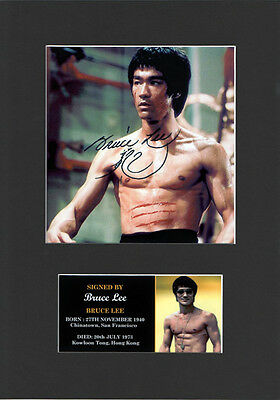 Bruce Lee Signed Mounted Photo Display, Autographed Acid free Mount brand new