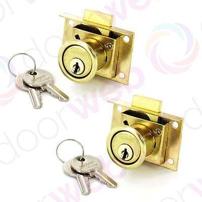 2 PACK Office Desk Drawer Lock Catch Cabinet Cupboard Door Keys BRASS 50mm