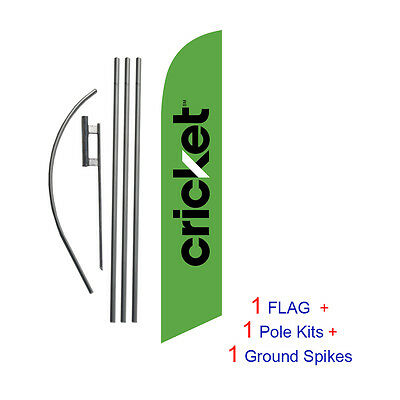 NEW 2014 Green Cricket 15' Feather Banner Swooper Flag Kit with pole+spike