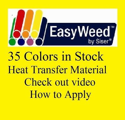 """Heat Transfer Siser Easyweed Vinyl 12"""" x 15 Inches  35 colors in stock"""