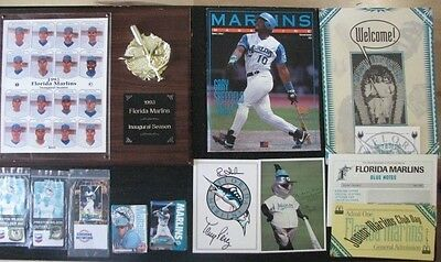 Big LOT: Fan's Collection FL Marlins Inaugural Season plaque & Gifts Package