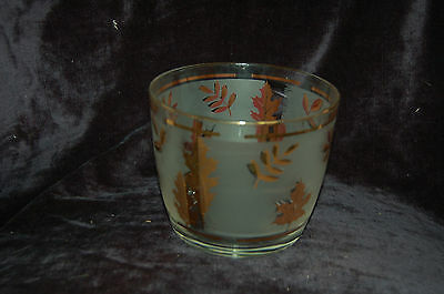 Libby Golden foliage Ice Bucket frosted glass