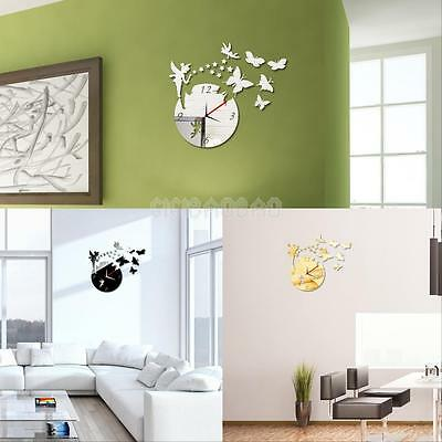 Fashion Fairy Butterfly Acrylic 3D Wall Clock Sticker Kids Bedroom Decoration