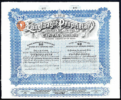 S AFRICA, Langlaagte Proprietary Co. Ltd., 25 £4 shares, issued but undated 189-