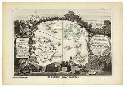 French West Indies Saint Martin Guiana illustrated map Levasseur ca.1856