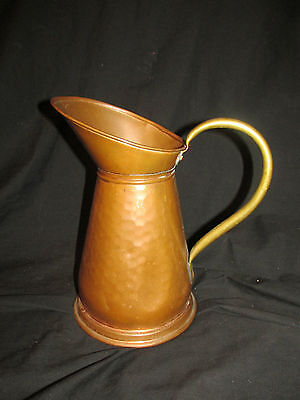 "Large 10.5"" Vintage Hammered Copper Pitcher with Brass Handle VERY UNIQUE!!"