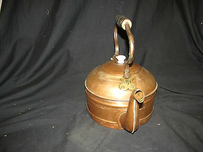 """Large 8.25"""" Vintage Copper Tea Kettle with Wood Handle & Lid No Markings Found"""