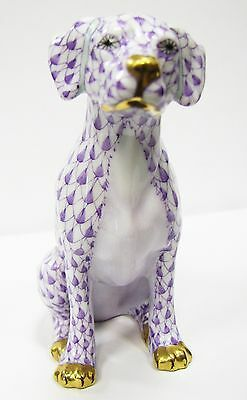 RARE Herend Lavender Fishnet Seated Dog Artist Signed Vecsey Tamas #15566